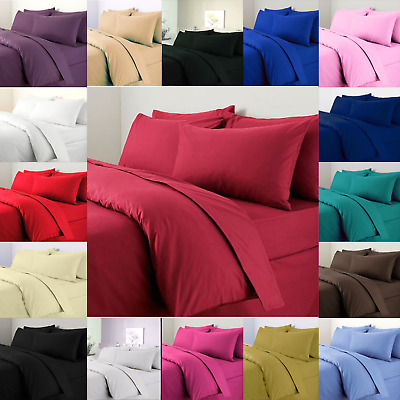 Plain Dyed Duvet Cover Quilt Set With Pillowcase Single Double King Bedding SALE
