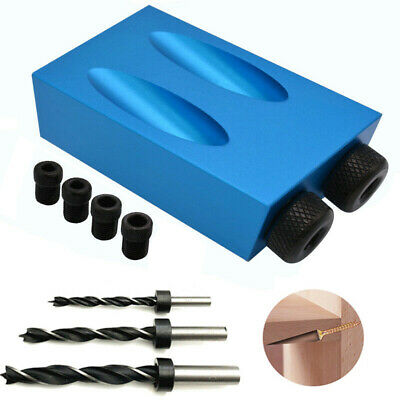 1 Set 15° Pocket Hole Screw Jig Locate Dowel Drill Carpentry Wood Joint Easy Use