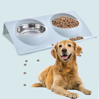 Double Bowls Raised Stand For Pet Cat Dog Puppy Non-Slip Splash Feeder Food Bowl