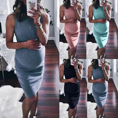 Midi Maternity Vest Dress Pregnants Sundress For Women O-Neck Sleeveless Casual
