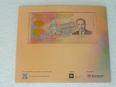 UNC Singapore 2019 Bicenteninal Commerative 20 dollars Polymer Banknote w folder