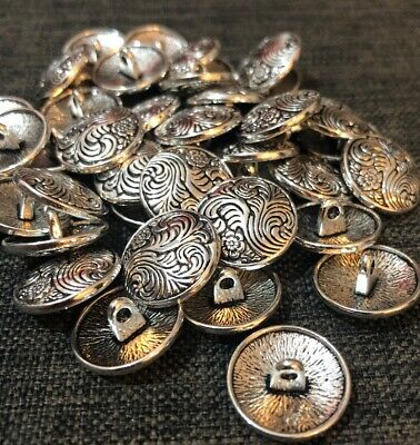 5 X 17mm Silver Patterned Metal Shank Buttons- Australian Supplier
