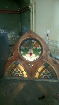 Antique Victorian Church Leaded Stained Glass window in original wooden surround