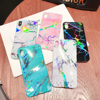 Phone Case Soft Iridescent Cover Glossy Holographic Shiny TPU Rainbow Marble