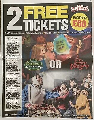 Great Sun Offer 2 X Shrek/ London Dungeon Tickets All 10 Codes As Required