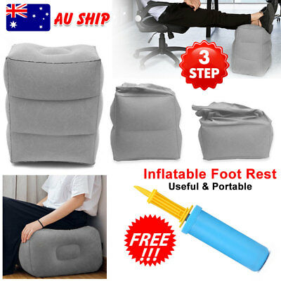 Portable  Travel Inflatable Foot Rest +  Air Pump Pad Footrest Plane Pillow AU