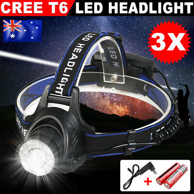 3X LED Headlamp Rechargeable Bicycle Light Head Torch CREE 21000LM XML T6 Lamp