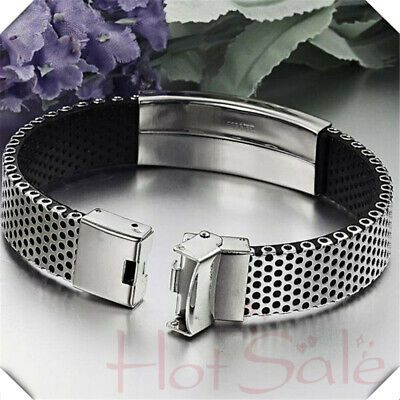 Mens Bangle Silver Stainless Steel Black Leather Cuff Wristband Bracelet Jewelly