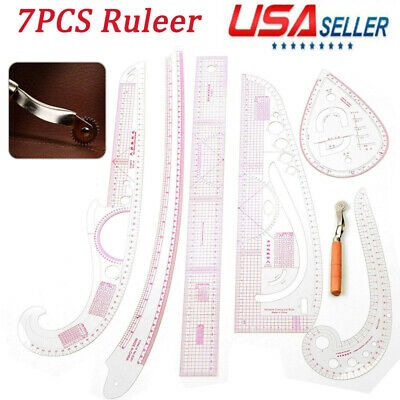 7pcs Sewing French Curve Ruler Measure Dressmaking Tailor Drawing Template
