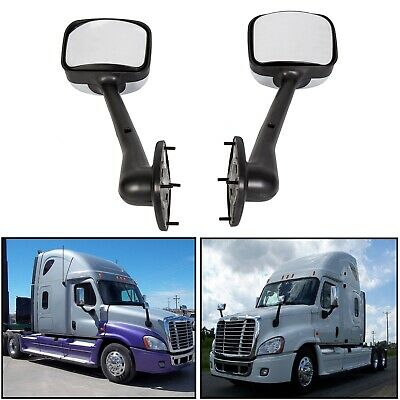 LH+RH Side Hood Chrome Mirrors Manual Pair For Freightliner Cascadia 2008-2016