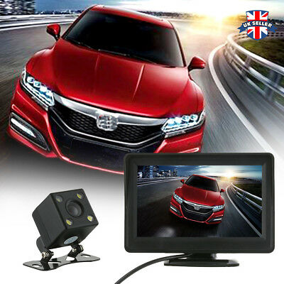 "Wireless IR Reversing Camera Car Rear View Parking Kit+Foldable 4.3"" LCD Monitor"