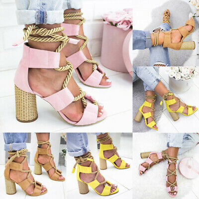Womens Block High Heel Strappy Sandals Ladies Summer Holiday Party Fancy Shoes