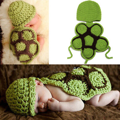 Creative Baby Crochet Knit Turtle Costume Photography Photo Prop Hat Outfit
