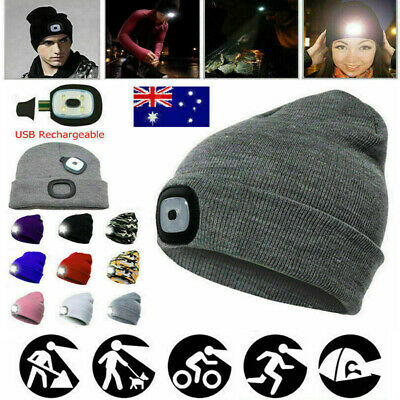 4 LED Unisex Head Lamp Knit Beanie Hat Light Cap Camping Fishing Hunting Outdoor