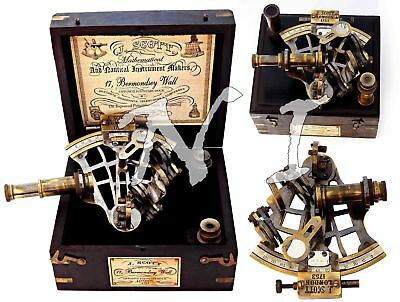 Antique J. Scott Brass Ship SEXTANT With Two Extra Telescope in Hardwood Box