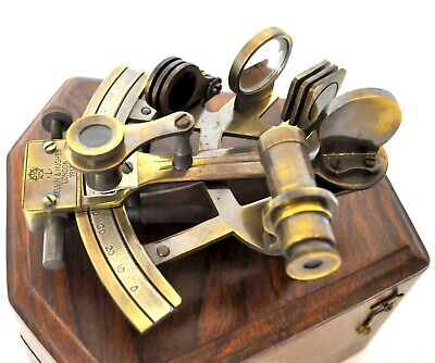 Nautical Brass SEXTANT Marine Collectible Working German Maritime W/ Wooden Box
