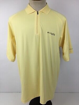 41790a06a4b Columbia PFG Omni Freeze Mens Large Yellow Short Sleeve Vented Polo Shirt