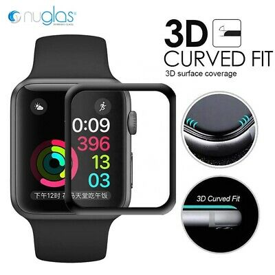 Nuglas 3D Curved Full Cover Tempered Glass Screen Protector For Apple Watch 1234