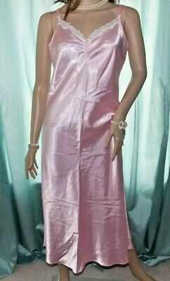 M&S 50's Style Pink Mix Silky Satin Tall Girl Nightie Lacy Slip Negligee 14 UK