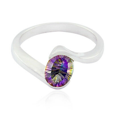 "Natural Gemstone Oval Faceted Mystic Quartz ring 925 Silver gift mother""s day UK"