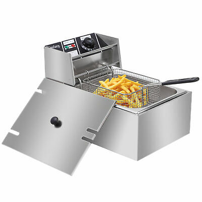 10 Letter Stainless Steel Electric Deep Fat Fryer Chip Pan Basket 6L Oil 2500W