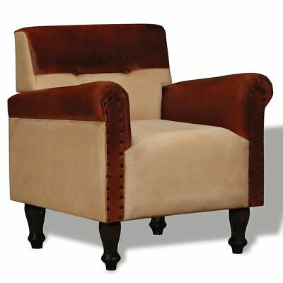 Armchair Real Leather and Fabric Brown and Beige Vintage Chair