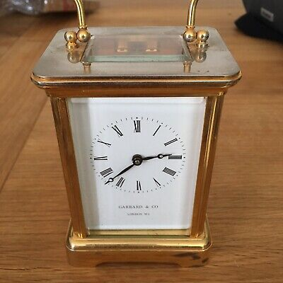 Vintage Garrard & Co London W1 Brass Carriage Mantel Clock and Key Working
