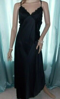 M&S Jet Black Glossy Satin Lacy Sheer Bust Classic Hollywood Tall  Nightie 18 UK