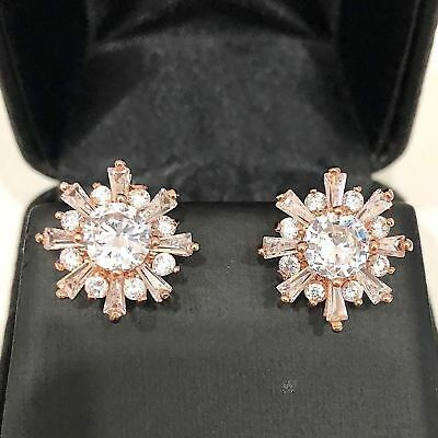 Carved 2.46 Ct Snow Cubic Zircon Stud Earring Wedding Engagement Women Jewelry