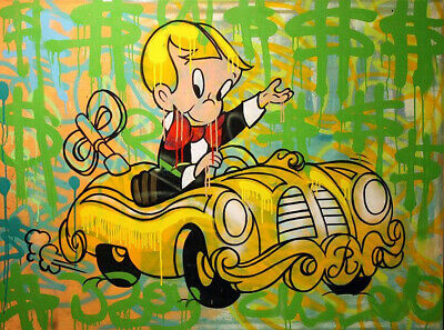 "Alec monopoly ""Richie Rich"" ,Handcraft Oil Painting on Canvas ,24x32inch"