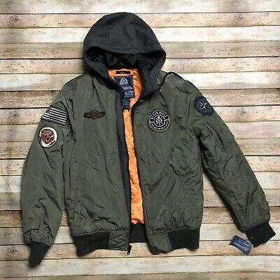 cb6d68ab9 AMERICAN RAG MENS Hooded Bomber Jacket Dusty Olive Green Military Flag  Quilted