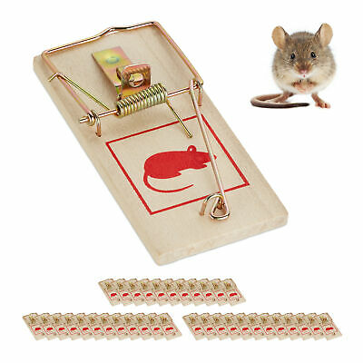 Set of 36 Wooden Mousetraps, Animal Trapping, Rodent Traps