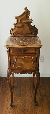 *Antique French Louis XV Nightstand in Solid and Veneered Walnut with Marble Top