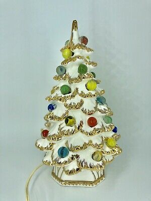 Ceramic Christmas Tree With Lights.Vintage Vtg Holland Mold Ceramic Christmas Tree Lighted Marble Rare Gold White