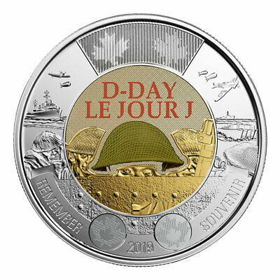 2019 CANADA 75th D-Day COLOURED UNC  $2 TOONIE COIN