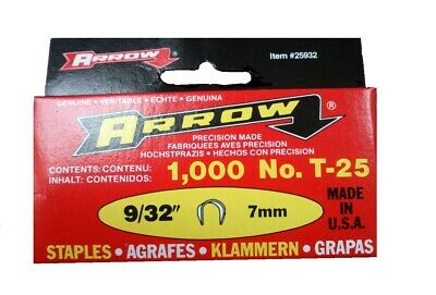 "Genuine Arrow T25   7mm (9/32"")  Round Crown Staples Pack of 5000"