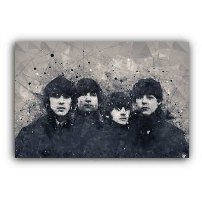 The Beatles Canvas Framed Wall Art Print Geometric Black And White - A1 A2 A3