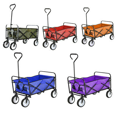Foldable Pull Along Wagon Garden Trailer Hand Cart Utility Transport Trolley