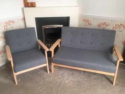 Grey Wooden Sofa and Chair Scandi retro new