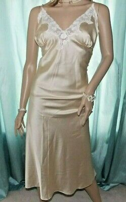 M&S Stunning 50's Style Silky Gold Satin Midi Girly Nightie Negligee Slip 18UK