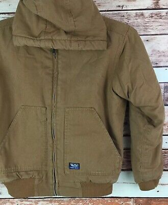 7d1fcc8a14c24 Walls Tough Wear Kidz Grow System Brown lined HOOD DUCK Jacket Youth Size  12-14