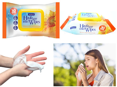 120 x Hay Fever Wipes Wet Hand Face Allergy Relief Trap Pollen Dust Dirt Wipes