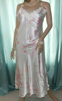 Bhs Cream Glossy Silky Satin Floral Mix Design Sheer Bust Long Nightie Slip 14Uk