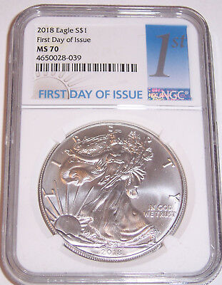 2018 $1 NGC MS70 First Day of Issue American Silver Eagle  FDI  FDoI Blue Label!