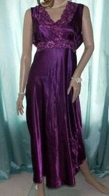 Bhs Purple Glossy Silky Satin Floral Design Lacy Bust Nightie Full Slip 14 Uk