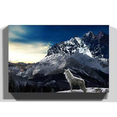 Canvas Wall Art Picture Print Animal White Wolf Mountain Landscape
