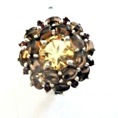 Smoky Quartz & Citrine Ring size  6,75