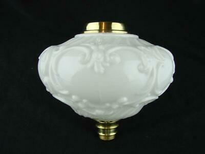 LARGE MOULDED WHITE GLASS OIL LAMP FONT, ART NOUVEAU DECORATION, 23mm UNDERMOUNT