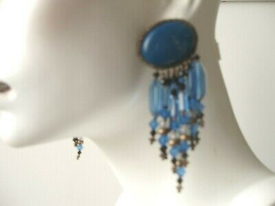 Antique Vintage Deco Retro Cabochon Lapis Lazuli HUGE Clip-On Drop Earrings