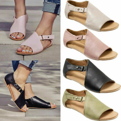 Womens Ladies Peep Toe Buckle Flat Sandals Summer Holiday Boots Shoes Size 3.5-8